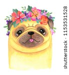a cute cartoon pug wearing a... | Shutterstock . vector #1153531528