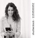 black and white portrait of... | Shutterstock . vector #1153533352