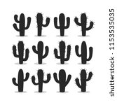 cactus silhouettes illustrated... | Shutterstock .eps vector #1153535035