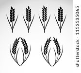 wheat ears icons and logo set.... | Shutterstock .eps vector #1153535065
