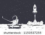 astronaut photographs himself... | Shutterstock .eps vector #1153537255