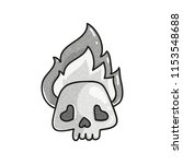 stippled funny skull with flame.... | Shutterstock .eps vector #1153548688