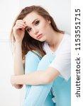 cheerful attractive girl... | Shutterstock . vector #1153551715