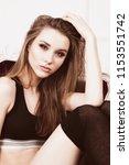 cheerful attractive girl... | Shutterstock . vector #1153551742