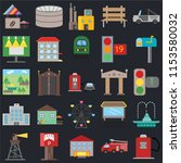 set of 25 icons such as gas...
