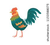 cheerful cartoon rooster.... | Shutterstock .eps vector #1153588075