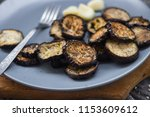 crust roasted eggplants slices... | Shutterstock . vector #1153609612