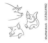 sketch of pig. engraved pig.... | Shutterstock .eps vector #1153614982