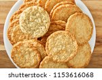 cookies on white plate and...   Shutterstock . vector #1153616068
