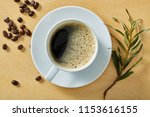 cup of coffee on wooden table...   Shutterstock . vector #1153616155