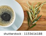 cup of coffee on wooden table...   Shutterstock . vector #1153616188