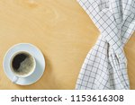 cup of coffee on wooden table...   Shutterstock . vector #1153616308