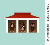 three funny cows standing... | Shutterstock .eps vector #1153617592