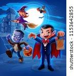 halloween night horror kid | Shutterstock .eps vector #1153642855