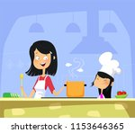 mom and daughter cooking in... | Shutterstock .eps vector #1153646365
