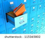 Blue Office Wall Of Files With...