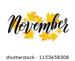 hand sketched november text.... | Shutterstock .eps vector #1153658308