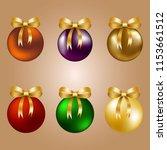 christmas balls with golden... | Shutterstock .eps vector #1153661512