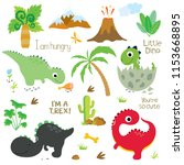 cute vector dinosaurs isolated... | Shutterstock .eps vector #1153668895