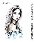 hand drawn beautiful young... | Shutterstock .eps vector #1153681978