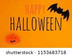 halloween card with pumpkin and ... | Shutterstock . vector #1153683718