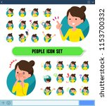 a set of woman with expresses... | Shutterstock .eps vector #1153700332