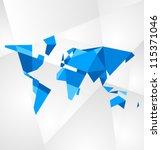 abstract facet world map vector.... | Shutterstock .eps vector #115371046