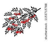 silhouette of a rowan branch on ... | Shutterstock .eps vector #1153715788