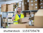 warehouse delivery check.... | Shutterstock . vector #1153735678