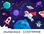conquest of space. cartoon... | Shutterstock .eps vector #1153749448