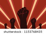 raised fist hand protest in... | Shutterstock .eps vector #1153768435