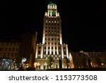 Small photo of quebec, canada, 10 20 2017 : night view of edifice price building in upper town of quebec city