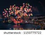 summer firework festival in... | Shutterstock . vector #1153775722
