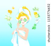 blond women with cucumber face... | Shutterstock .eps vector #1153776652