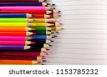 school notebook color pencils... | Shutterstock . vector #1153785232