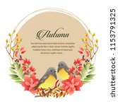 autumn card with poinsettia and ... | Shutterstock .eps vector #1153791325