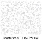 white background with baby gear ... | Shutterstock .eps vector #1153799152