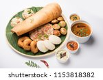group of south indian food like ... | Shutterstock . vector #1153818382