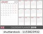 calendar planner 2019  week... | Shutterstock .eps vector #1153823932