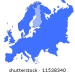 finland location in europe map. ... | Shutterstock . vector #11538340