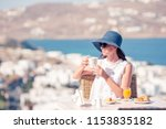 young woman in hat with coffee... | Shutterstock . vector #1153835182