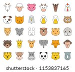cute animal face included farm  ... | Shutterstock .eps vector #1153837165
