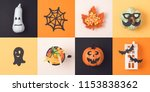 halloween holiday concept with... | Shutterstock . vector #1153838362