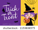 happy halloween greeting card... | Shutterstock .eps vector #1153838575
