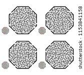 set of labyrinths  mazes...   Shutterstock .eps vector #1153841158