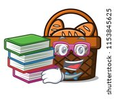 student with book bread basket... | Shutterstock .eps vector #1153845625