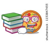 student with book pizza mascot... | Shutterstock .eps vector #1153847455