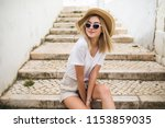 beautiful young caucasian woman ... | Shutterstock . vector #1153859035
