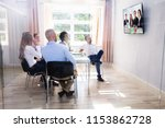 group of diverse businesspeople ... | Shutterstock . vector #1153862728