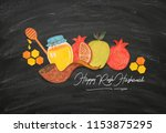rosh hashanah  jewish new year... | Shutterstock . vector #1153875295